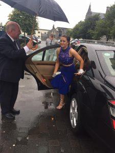 Wedding Car with Sligo Chauffeur opening door for guest