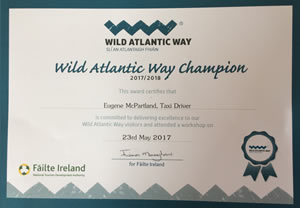 Wild Atlantic Way Champion Certificate