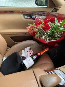Red roses and champagne delivered by Sligo Chauffeur